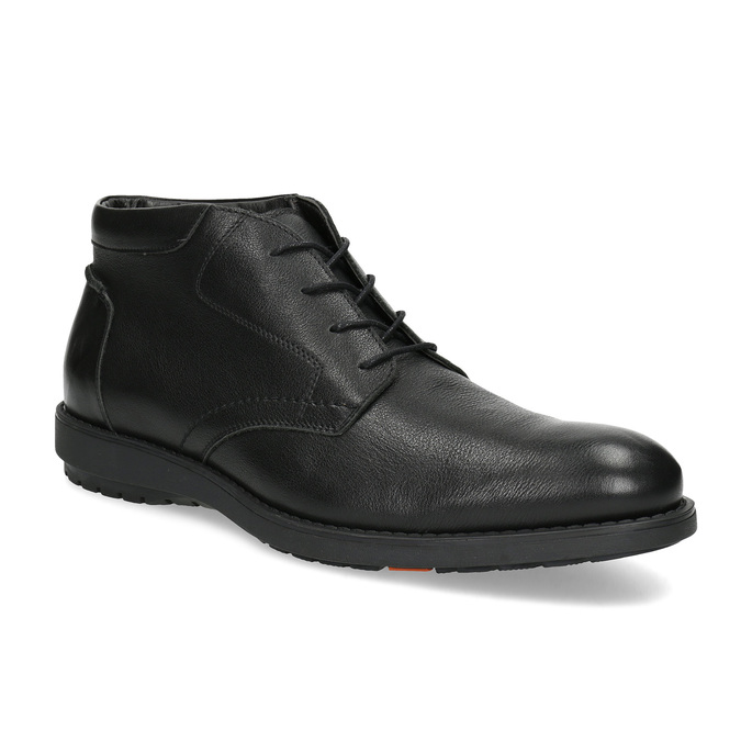 Kotníčková kožená pánská obuv černá flexible, černá, 894-6704 - 13