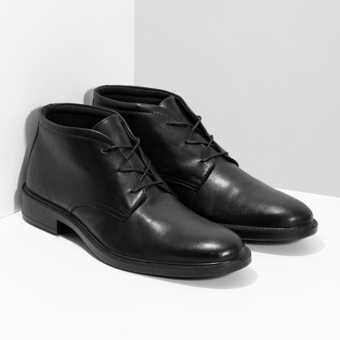 Kožená kotníčková obuv černá pánská hladká comfit, černá, 824-6822 - 26