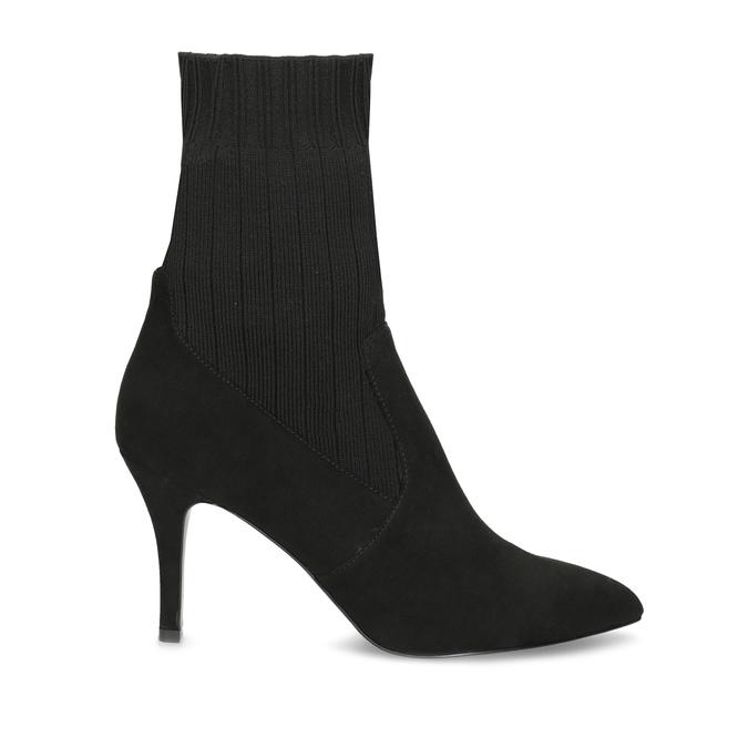 Černé ponožkové kozačky na jehlovém podpatku bata, černá, 799-6640 - 19