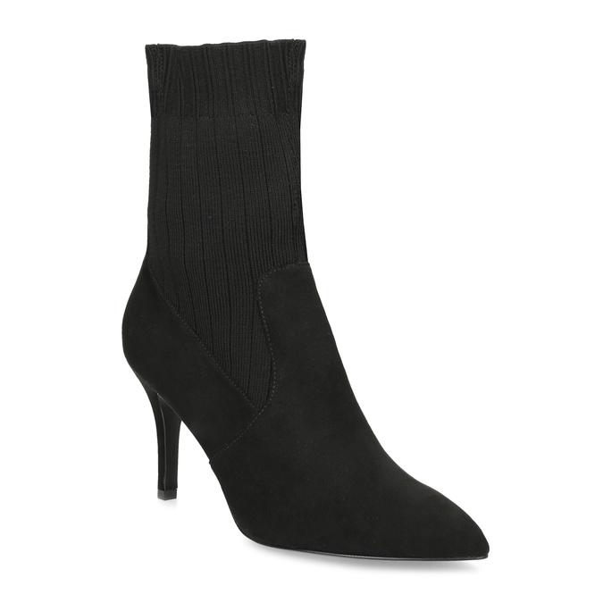 Černé ponožkové kozačky na jehlovém podpatku bata, černá, 799-6640 - 13