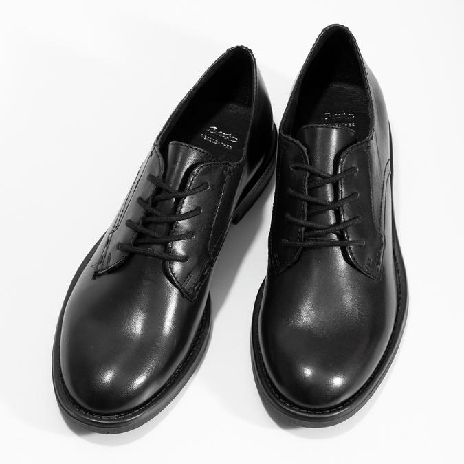 Černé dámské kožené polobotky bata, černá, 524-6666 - 16