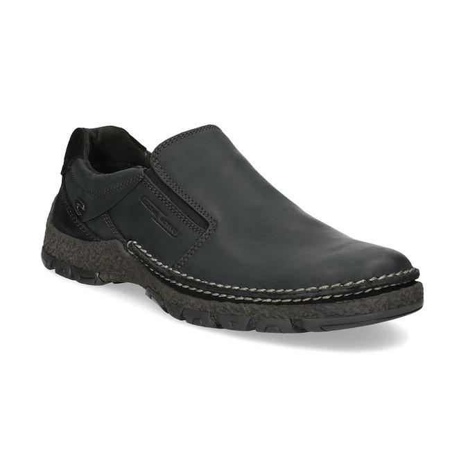 Kožená pánská Slip-on obuv s prošitím, černá, 816-6011 - 13