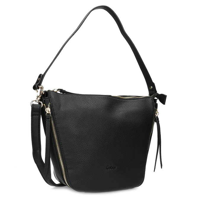 Černá kabelka se zlatými zipy gabor-bags, černá, 961-6086 - 13
