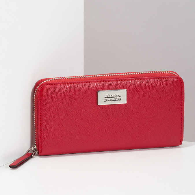 Červená dámská peněženka na zip bata, červená, 941-5223 - 17