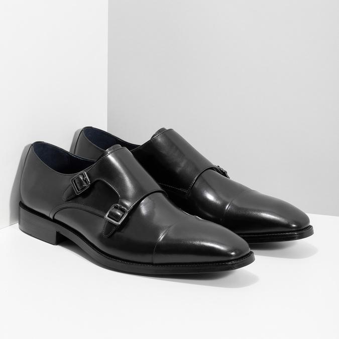 Pánské kožené Monk Shoes polobotky bata, černá, 824-6613 - 26