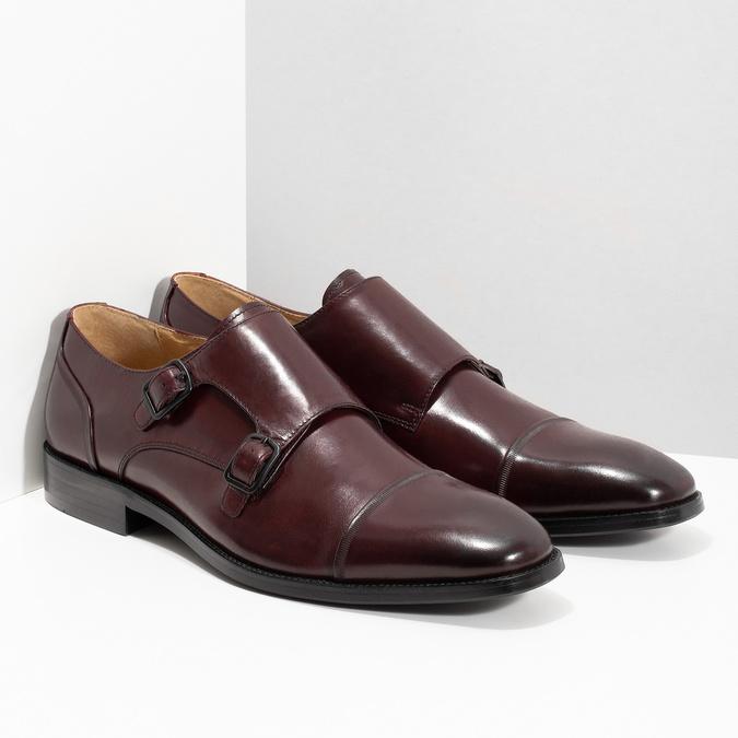 Pánské kožené Monk Shoes polobotky bata, červená, 826-5738 - 26