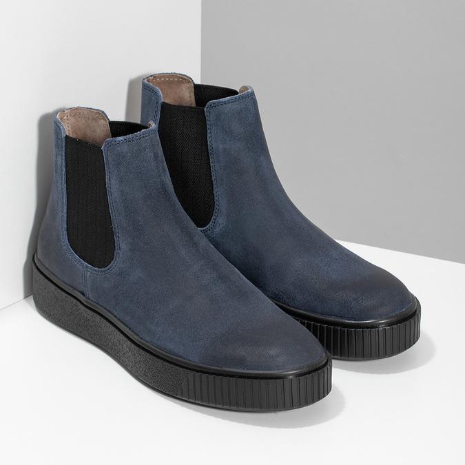 Modrá dámská kožená Chelsea obuv bata, modrá, 596-9713 - 26