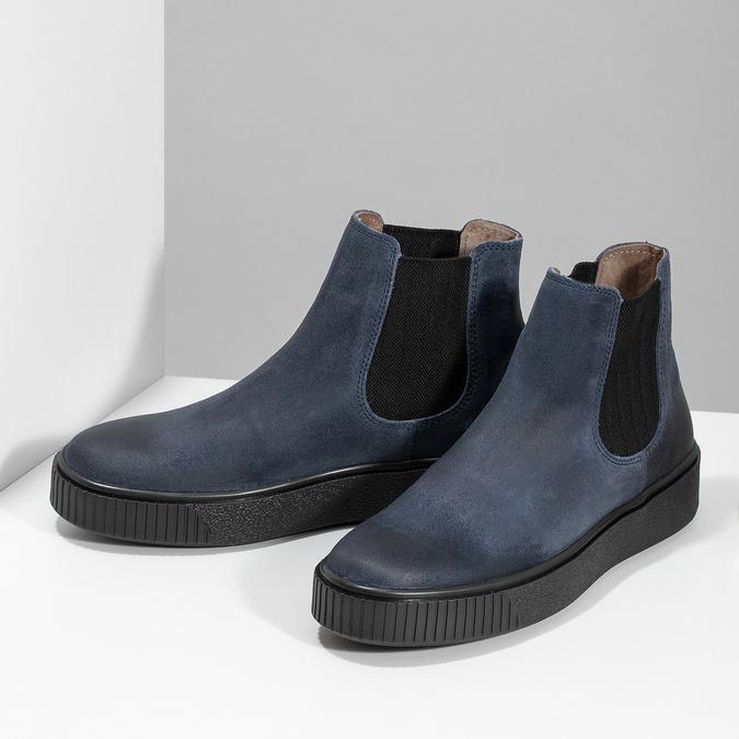 Modrá dámská kožená Chelsea obuv bata, modrá, 596-9713 - 16