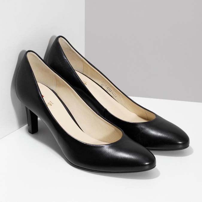 Černé kožené dámské lodičky hogl, černá, 724-6085 - 26