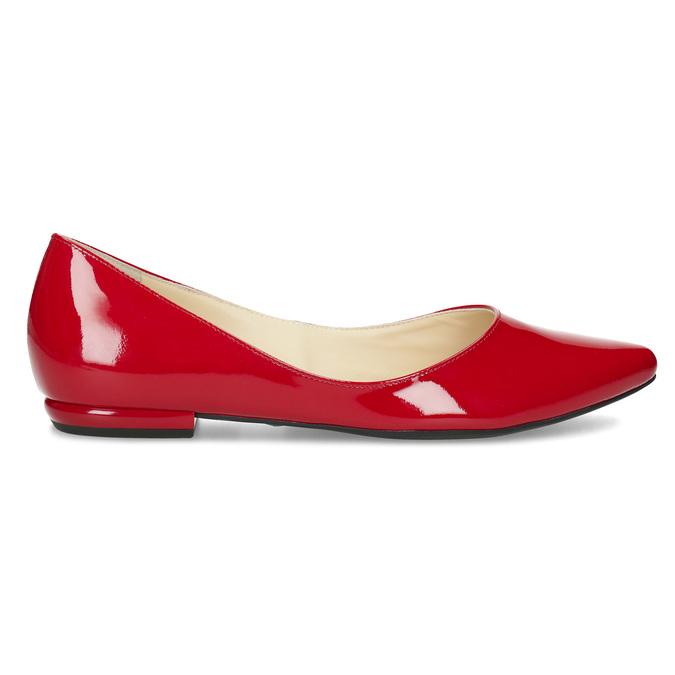 Červené kožené dámské baleríny s lakováním hogl, červená, 528-5066 - 19