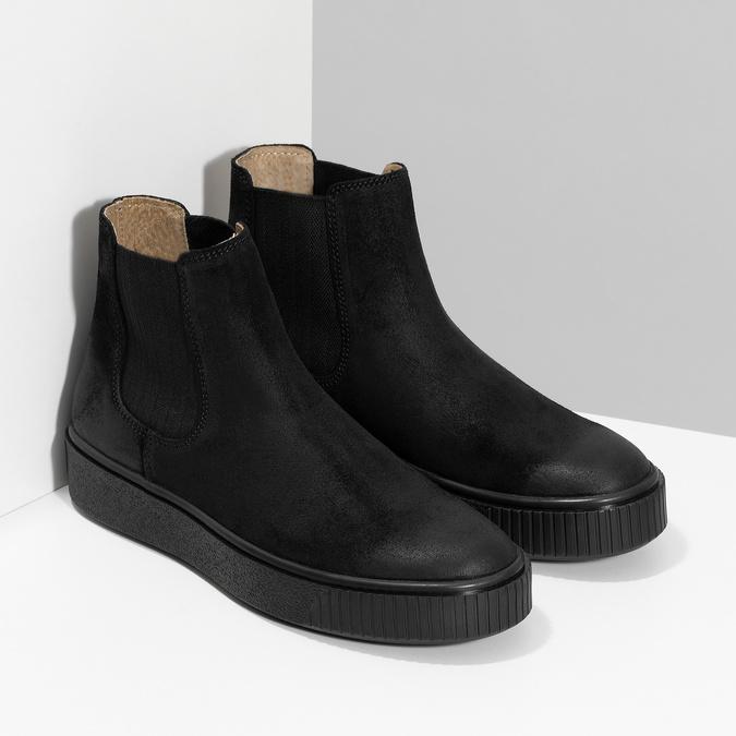 Kotníčková kožená dámská Chelsea obuv bata, černá, 596-6713 - 26