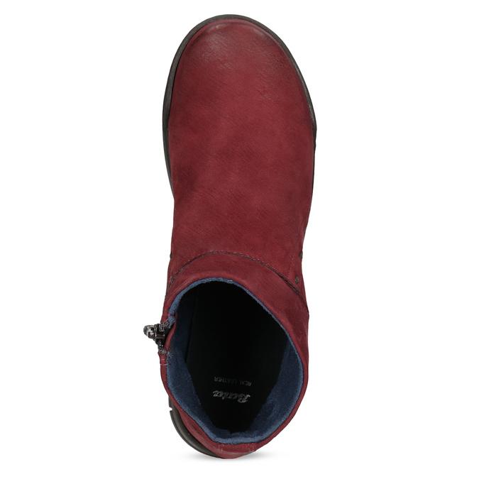 Červené kožené kotníčkové kozačky bata, červená, 596-5706 - 17