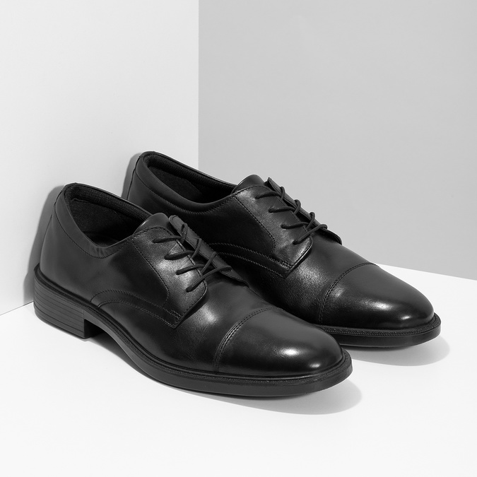 Pánské kožené polobotky černé comfit, černá, 824-6820 - 26