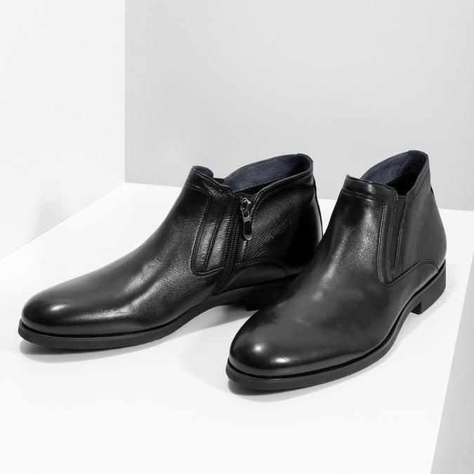 Kožená kotníčková pánská obuv s prošitím bata, černá, 824-6621 - 16