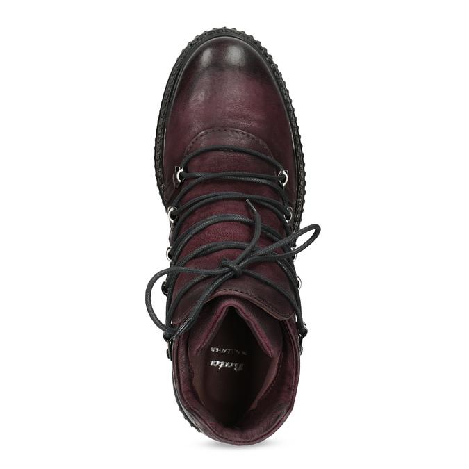 Vínová kožená kotníčková obuv se šněrováním bata, červená, 596-5719 - 17