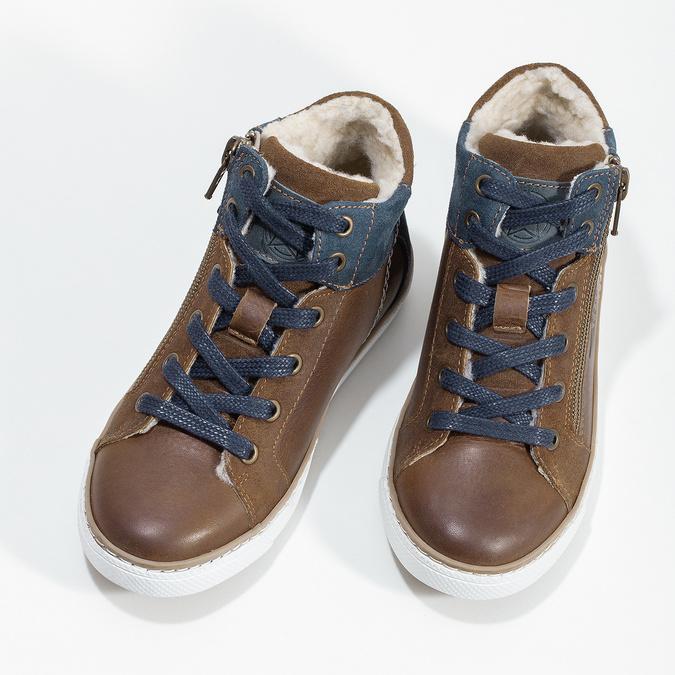 Hnědá kožená dětská kotníčková obuv mini-b, hnědá, 414-3602 - 16