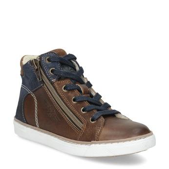 Hnědá kožená dětská kotníčková obuv mini-b, hnědá, 414-3602 - 13