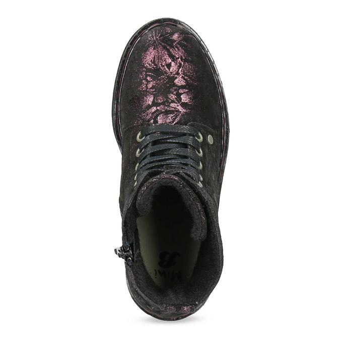 Kotníčková kožená dětská obuv se vzorem mini-b, hnědá, 426-4560 - 17