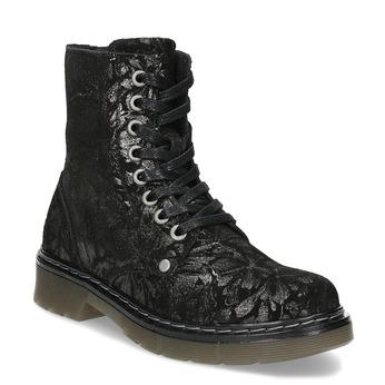 Dětská kožená kotníčková obuv se vzorem mini-b, černá, 426-2560 - 13