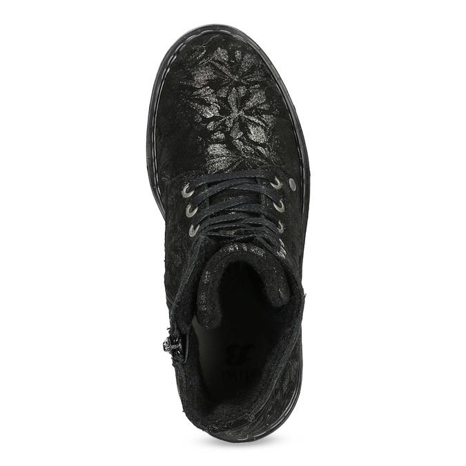 Dětská kožená kotníčková obuv se vzorem mini-b, černá, 426-2560 - 17