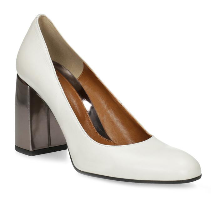 ffb43010608 Baťa Bílé kožené lodičky s metalickým podpatkem - Všechny boty