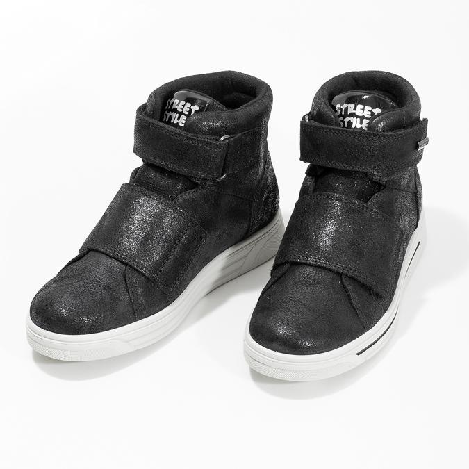 Kožené černé dětské kotníčkové tenisky mini-b, černá, 323-6603 - 16