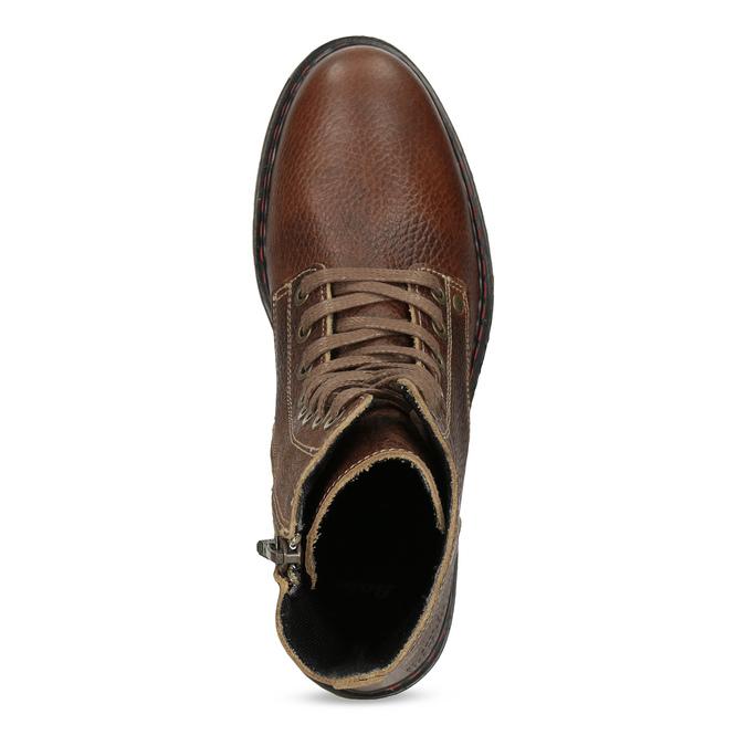 Hnědá kožená dámská kotníčková obuv bata, hnědá, 596-4732 - 17