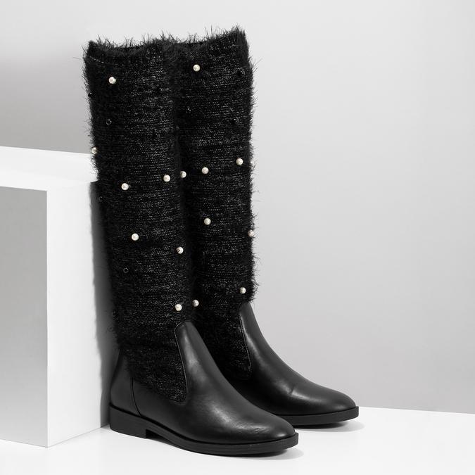 Černé kozačky s perličkami bata, černá, 599-6619 - 26