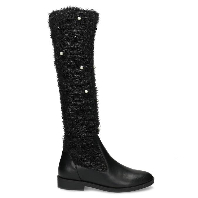 Černé kozačky s perličkami bata, černá, 599-6619 - 19
