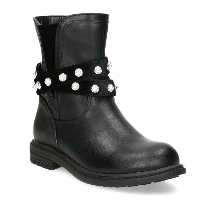 Dívčí kozačky s perličkami zateplené mini-b, černá, 291-6111 - 13