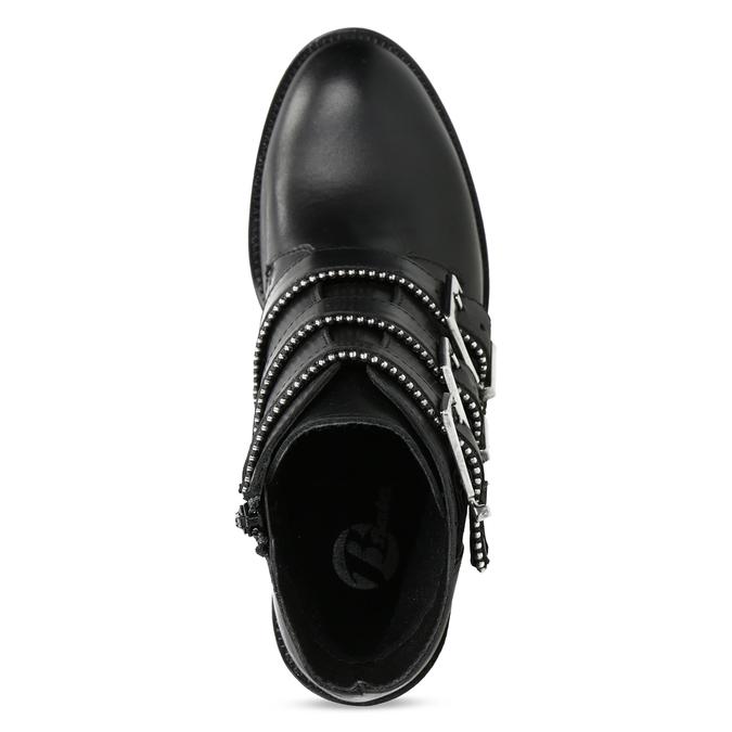 Kožená dámská kotníčková obuv s přezkami bata, černá, 694-6670 - 17