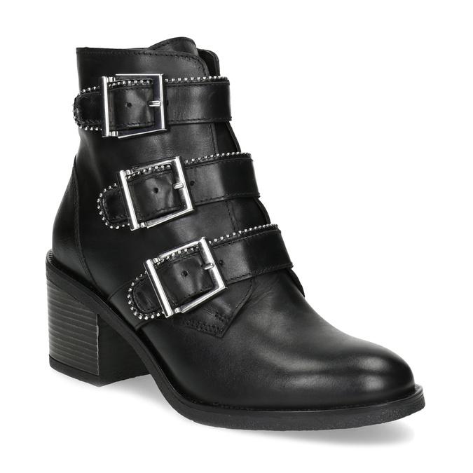Kožená dámská kotníčková obuv s přezkami bata, černá, 694-6670 - 13