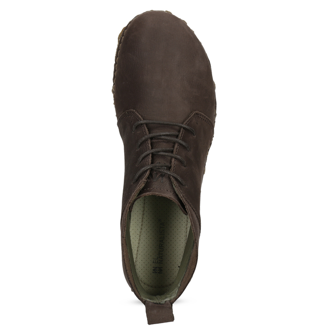 Dámská kožená kotníčková obuv tmavě hnědá el-naturalista, hnědá, 626-4088 - 17