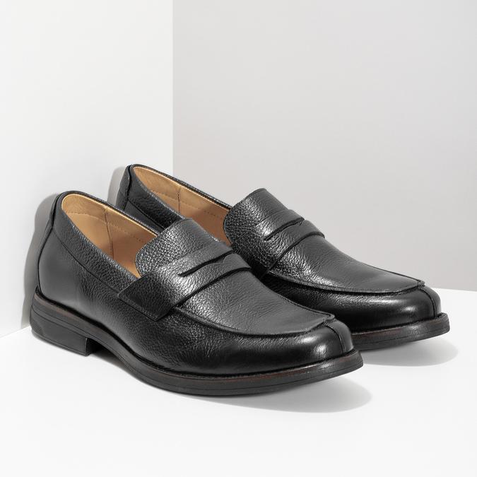 Kožené Penny Loafers mokasíny černé comfit, černá, 814-6627 - 26