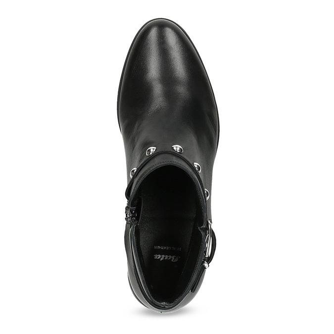 Kožená kotníčková obuv s kovovými cvoky bata, černá, 594-6668 - 17