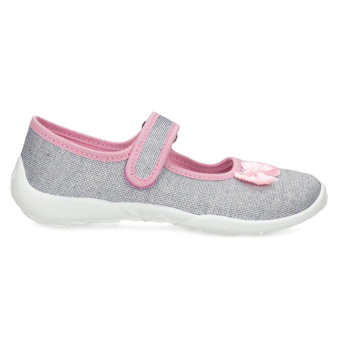 Dětská domácí obuv s mašličkou mini-b, stříbrná, 379-1314 - 19