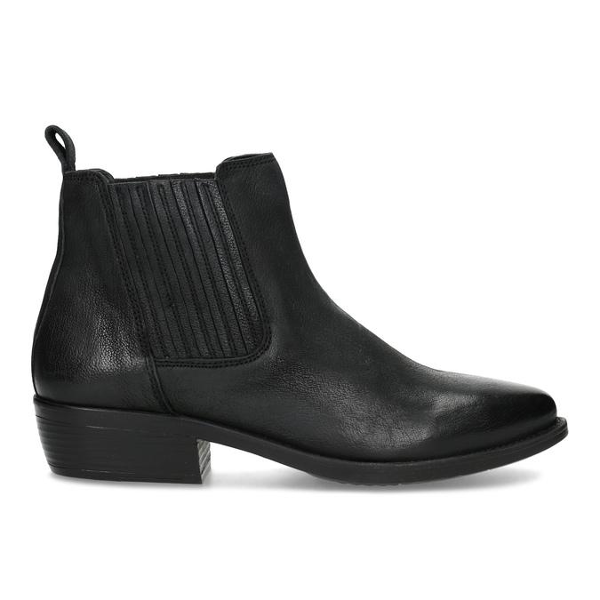 Dámská kožená kotníčková obuv s pružením bata, černá, 596-6969 - 19