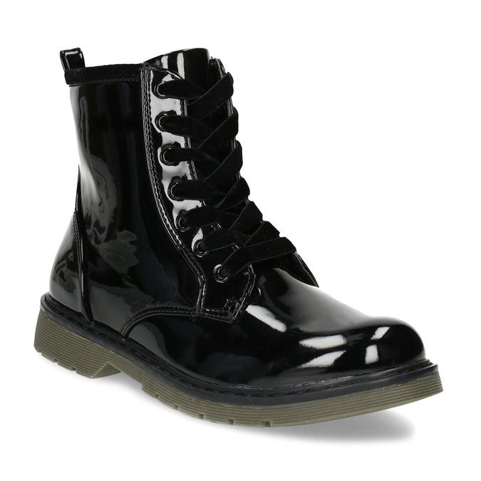 Dívčí kotníčková obuv černá lesklá mini-b, černá, 391-6259 - 13