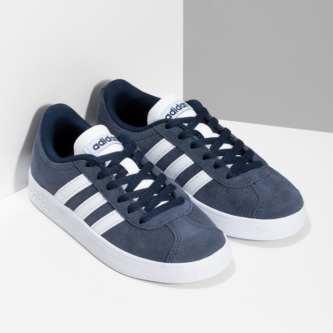 Dětské tenisky z broušené kůže šedé adidas, modrá, 303-9212 - 26