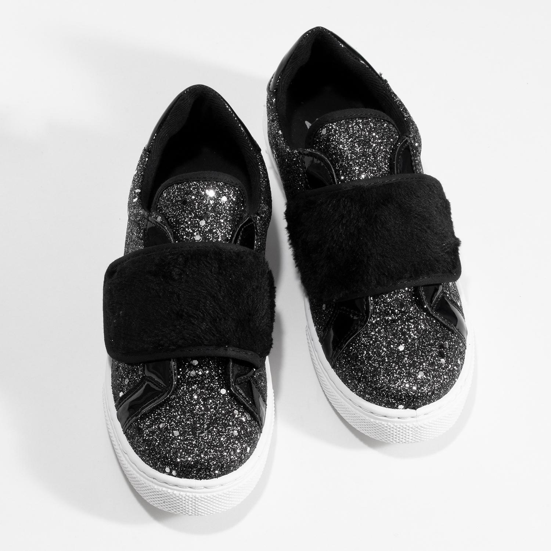 Mini B Dívčí třpytivé tenisky na suchý zip - Nízké  f256f1682c