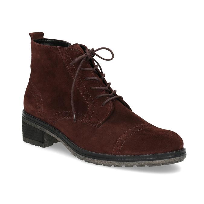 Vínová kožená kotníčková obuv gabor, červená, 623-5029 - 13