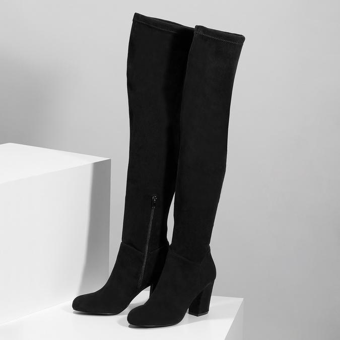 Černé dámské kozačky nad kolena bata, černá, 799-6638 - 16