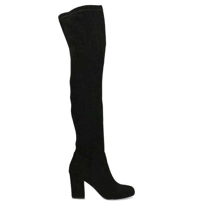 Černé dámské kozačky nad kolena bata, černá, 799-6638 - 19