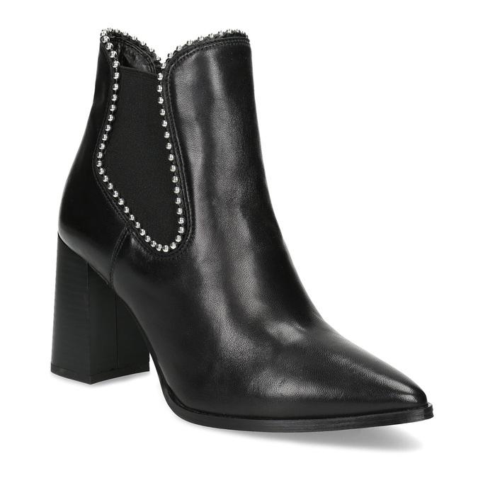 Kožená kotníčková obuv na podpatku bata, černá, 796-6660 - 13