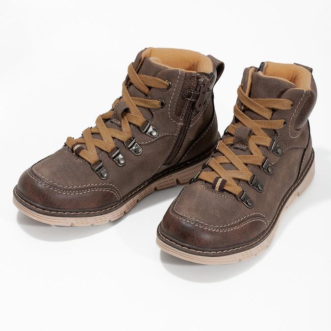 Hnědá dětská kotníčková obuv na zip mini-b, hnědá, 311-4614 - 16