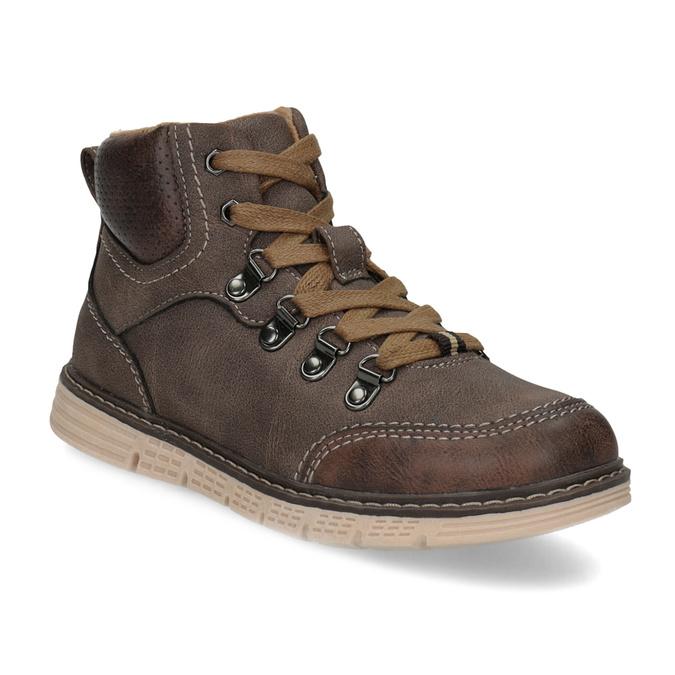 Hnědá dětská kotníčková obuv na zip mini-b, hnědá, 311-4614 - 13
