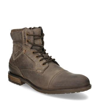 Hnědá kožená kotníčková pánská obuv bugatti, hnědá, 826-4059 - 13