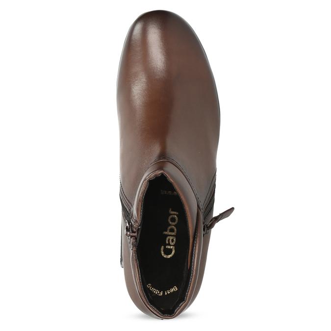 Dámská kožená kotníčková obuv hnědá gabor, hnědá, 616-3001 - 17
