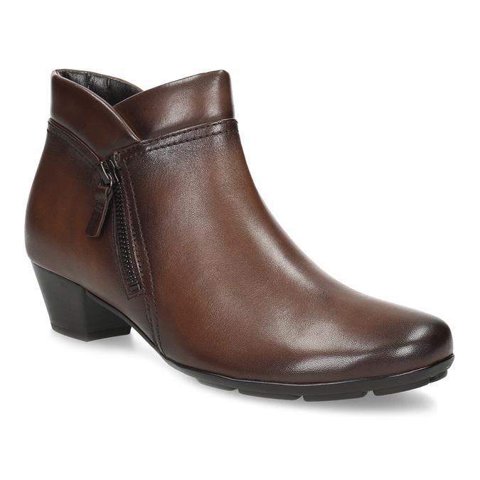 Dámská kožená kotníčková obuv hnědá gabor, hnědá, 616-3001 - 13
