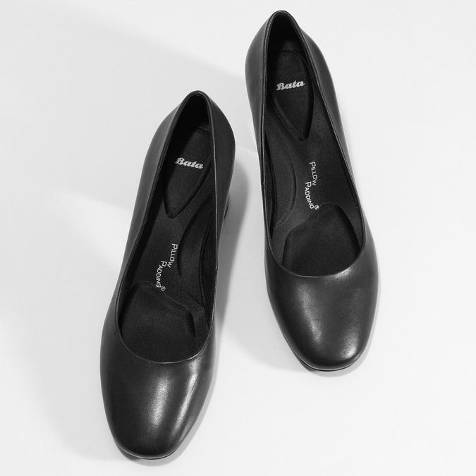 Černé kožené lodičky na stabilním podpatku pillow-padding, černá, 724-6656 - 16